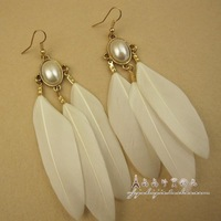Fashion accessories pearl white feather personalized design long earrings drop earring jewelry female accessories