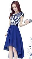 2014 full dress V-neck slim irregular plus size chiffon blue and white porcelain dovetail one-piece dress gentlewomen
