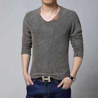 M-5XL Man Plus Size T shirt Men 2014 New Arrival High Quality Breathable Fashion Long Sleeve V-neck T-shirt Men tee shirts