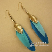 Fashion accessories long design double feather leaf earrings drop earring female