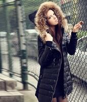 2014 Fur coat  Duck Down Jacket Brand PU Overcoat 90% Down Women Fashion Duck Down jacket Female Winter wear Winter Coat