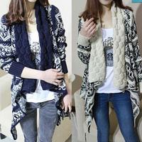 2014 autumn winter new Women Ladies Retro Vintage Long Sleeve Cascading Open Front Cardigan Geometric Pattern Sweater Tops