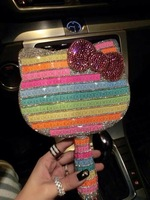 High-grade luxury handle mirror colorful rainbow crystal diamond hello Kitty mirror girl gifts
