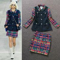 Fall 2014 Runway Brand Design Colorful Plaid Short Coat+ Plaid Skirt  skirt Suits  (1 set)  140806PB02