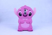 10PCS/LOT Hot 3D Lovely Cartoon Stitch Silicone Rubber Back Cover Phone Case For LG Optimus G2 Free Shipping
