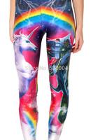 YWNN New Arrival Women Sexy Leggings Cartoon Rainbow 3d print Causel Legging Hot Girl Street Wear Fashion Pants Free Shipping