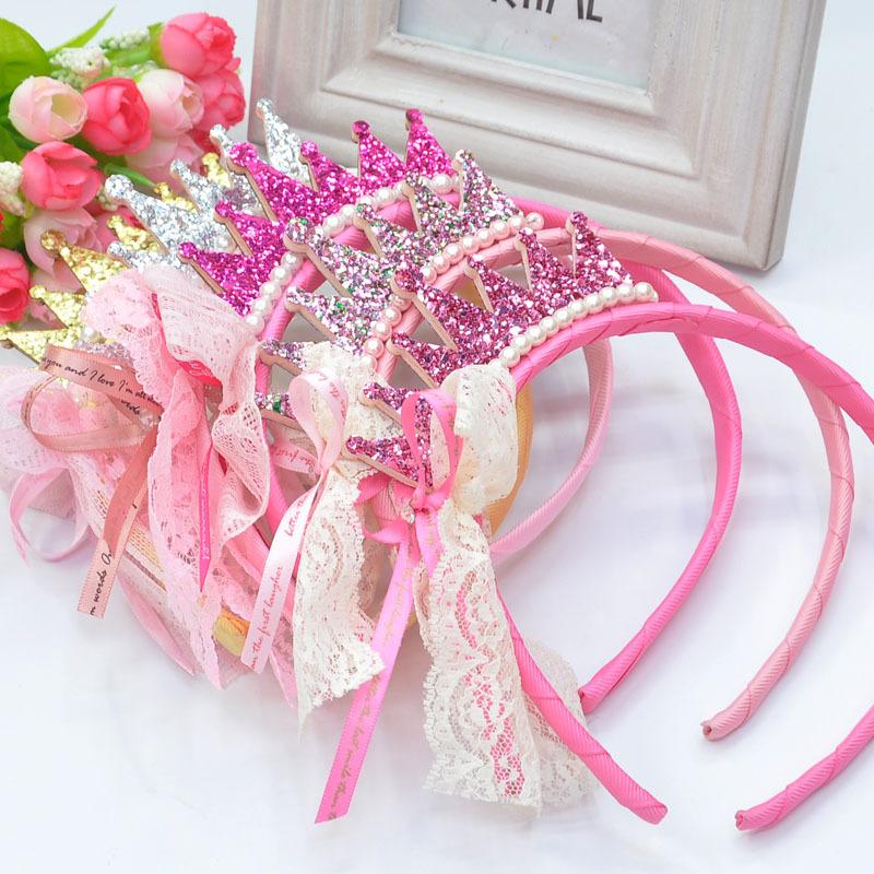 Free shipping New 2014 Girls Hair bands Pearls Resin Diamond Lace Bow Ribbon Crown Princess Children Hair Accessories Hair Band(China (Mainland))