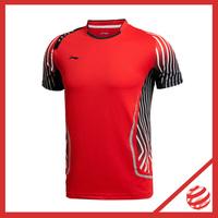 2014 Denmark World Championship Men Professional badminton T-shirt  Lining  Jersey AAYJ123 Lin Dan Men Badminton Tshirt