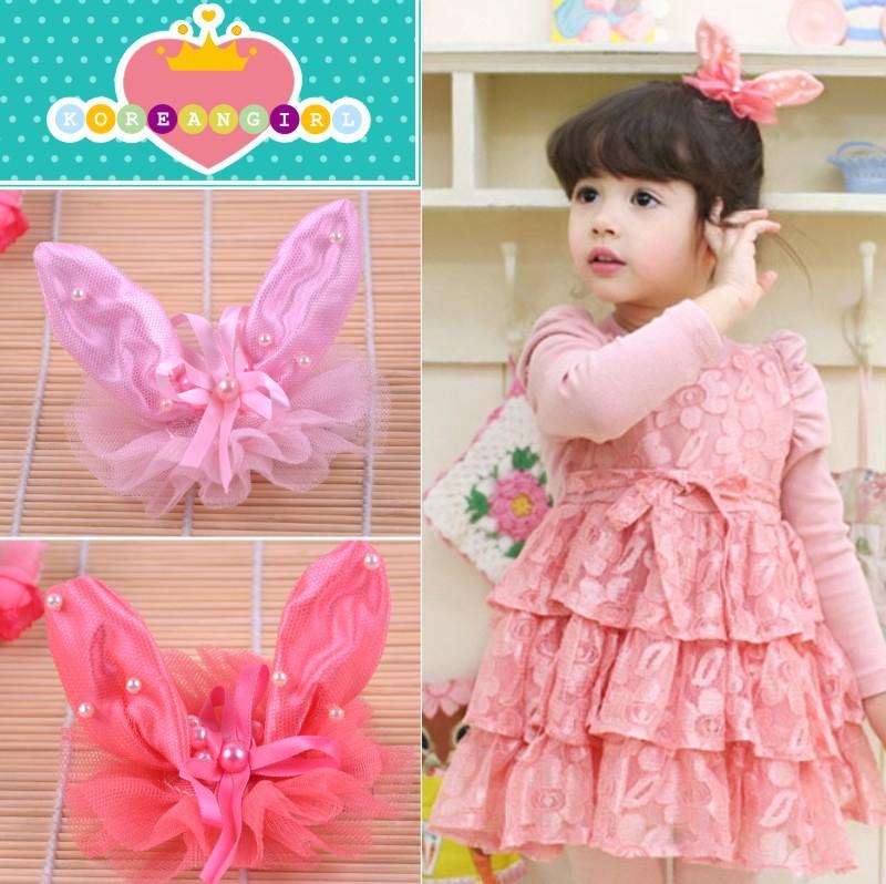 Free shipping New Design Fashion Baby Girls Hairpin Bobby Pin Rabbit Ears Lace Satin Gauze Ribbon Pearl Hair Clip Barrette 10pcs(China (Mainland))