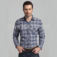 New 2014 Spring Autumn Cotton Casual Shirts High Quality Mens Casual Shirt Plus Size XXXL Slim Fit Plaid Shirts