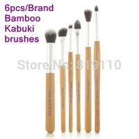 6 pcs Professional Nature Bamboo Handle Makeup brush set Brand Eye shaow blending Kabuki Make up brushes kit cosmetic  tools