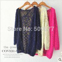 hot sale fashion2014 autumn polka dot medium-long mohair cardigan sweater outerwear female