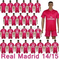 New arrival 14/15 Real Madrid away Pink soccer jersey +shorts,pepe sergio ramos ronaldo kaka benzema bale kroos james kits