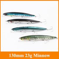 Free shipping hard fishing lure bait fising lure High quanlity 1pcs 23g 130mm treble hook Minnow fishing line artificial bait