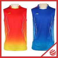 2014 Denmark World Championship Man Sleeveless Professional badminton T-shirt  Lining  Jersey AAYJ121 Man Quick Dry Sport Tshirt