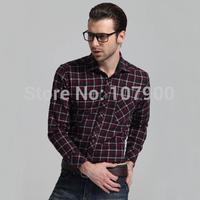 2014 men's fashion shirt men plaid cotton shirts Autumn Spring men's shirt long-sleeved Casual Shirts plus size drop shipping