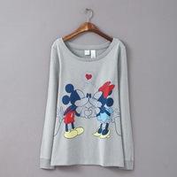 3XL-6XL Plus Size Women Mickey Sweatshirt Ladies Pullover Tunic Big Large Oversize XXXXL XXXXXL XXXXXXL 2014 New Autumn Fall