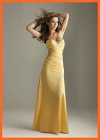 2014 Evening Dresses Sexy A Line Yellow Sweetheart Satin Sequins Pleats Floor Length Party Dresses Women Gown