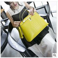 Free shipping 2014 new leather handbag Crocodile grain single shoulder bag fashion brand leather laptop inclined shoulder bag