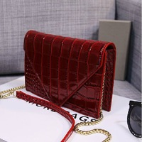 2014 New Crocodile Women Messenger Bags Alligator Print Chains shoulder bags PU leather Handbag small day clutch bolsas