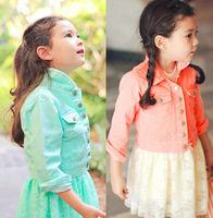 Wholesale 5PC/LOT New Fall Fashion Classic Candy Color Girls Denim Jacket Outerwear For Kids Children Denim Jacket Orange Green