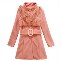 2014 New Fashion Winter 100%true Rabbit Hair On Front Single-breasted Wool Coat Woolen Coat Women's Wool Coat BZX27