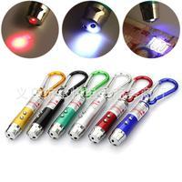 600pcs/lot 3-in-1 Multifunction led flash light,money check light,laser light  mini Torch Clip Keychain  Lamp Hiking Hook