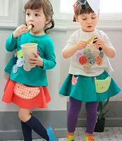 5pcs/Lot New Fall Fashion Long Sleeve Appliques Girls T Shirt / Top Clothes Blouse Kids Wear Children Shirt Green White
