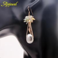 Natural pearl earrings luxury SWA crystal freshwater pearl dangle earrings real pearl drop earrings for women