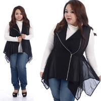 Plus Size Women Clothing Fashion 2014 New Ladies's Summer Slim Chiffon Zipper Vest Jacket Hem Irregular Thin Black Outerwear 618