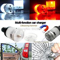 Multifunctional digital portable car charger Dual USB universal car charger+Life-saving hammer+Red warning light+LED floodlight