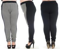 Large Size Pants For Women Fashion 2014 New Black & White Plaid Plus Size Thick Velvet Winter Warm Pencil Pants High Quality 710
