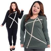 Large Size Women T-Shirts Fashion Original Stickers Irregular Hem Lace Long Tops Pluse Size Spring Autumn Shirts 2 Colors 626
