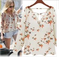 Free shipping Womens Fashion Bow Tie V neck Bird Print Long Sleeve Chiffon Blouse Shirt Tops S M L XL