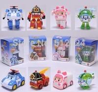 4PCS/SET 2014 New Brand Baby Toys Korean Anime Robocar poli transforming robot Toys Thomas Toys Pink And Green Gift For Kids