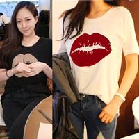 4XL Women T-Shirts 2014 New Fashion Ladies's Summer Modal Elastic Sweet Lip Print Slim Long Shirts Plus Size Tops For Women 827