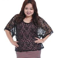 Plus Size Women Clothing New 2014 Fashion Women's Loose Lace Hollow Bat Sleeves Chiffon Lace Large Size Tops Size XXL,XXXL 559