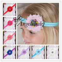 "2.5"" Shabby Chic Flowers With Rainbow Rhinestone Button On a Shimmery Headbands For Baby Girls DIY Photo Props 30pcs/lot"