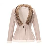 New 2014 Autumn And Winter Fashion Jacket Women Short Paragraph Outwear Fur Collar Woolen Coat Single Button Woman's Clothing