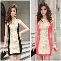 New 2014 Sexy Nightclub Sequin Dress Summer Sexy Women Party Sundress Mini Clubwear Dresses Black/Red