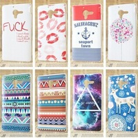 New Arrival Popular Various Kinds Town Lip Anchor Totem Case Cover For Sony Xperia ZL Case Sony L35h Case 1 Piece Free Shipping