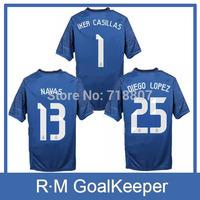 14/15 Real Madrid GoalKeeper Jerseys #1 IKER CASILLAS 2015 R.Madrid GK #13 NAVAS Jerseys Home RMFC 25 DIEGO LOPEZ Blue Jersey