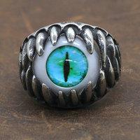 Men's Punk Biker Dragon Teeth Turquoise Green Cat Eye 316L Stainless Steel Eyeball Ring Halloween Party Fake Eye Wholesale