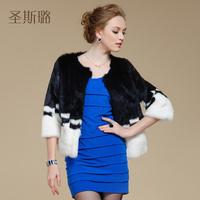 EMS free shipping!2014 winter women's rabbit fur coat black white patchwork short design top trench coat