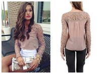 blusas femininas 2014 Women Lace Sleeve Chiffion Blouses Tops Emboriey Gorgeous Shirts long Sleeve  Crochet Trim Blouse blusas