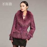 EMS free shipping!2014 autumn and winter female rabbit fur coat raccoon fur the wild rabbit fur real fur coats for women