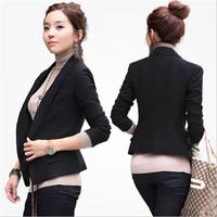 Hot Sale New Korean Fashion Women 's Coat  Slim One Button Black Suit Jackets Blazer  Plus Size 10010