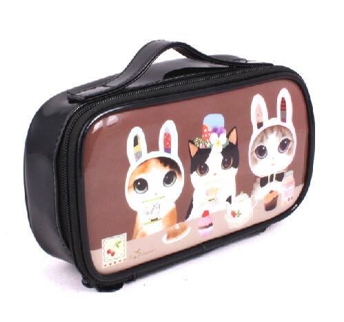 Waterproof Mini PVC Makeup Cosmetic Bag Cat Cute Kitty Travel Storage Cosmetics Box Girls Women Make up Pouch Vanity Case Bag(China (Mainland))