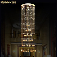 Maibo simple fashion round crystal chandelier lamp double staircase hall K9 crystal lamps Diameter 60 high 180cm