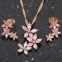 18K Gold Plated Fashion Jewelry sets Necklace Earrings Pink Topaz Zircon Austrian SWA Element Health Nickel & Lead free JS251